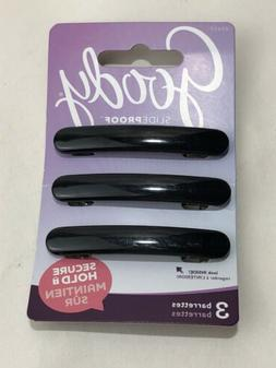 Goody 07637 SlideProof Barrettes ‑ 3 barrettes Black Hair