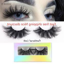 SKONHED1 Pair 100% Mink Hair Natural Long Eye Lashes False 3