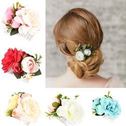 1 PCS Beautiful Wedding Bridal Rose Flower <font><b>Hair</b>