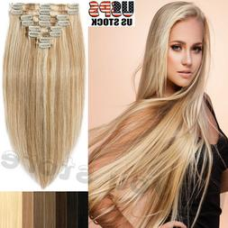 10-22Inch 7pcs Real Human Hair SALE Clip In Remy Hair FULL H
