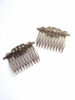 10 pcs Bronze Hair Combs Teeth Bow Hair Clips Craft Comb Cli