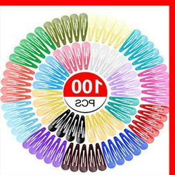 100 Pack Solid Candy Color Barrettes for GIRLS Kids Snap Hai