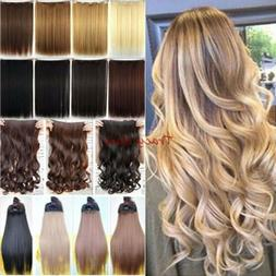 100% Natural 3/4 Full Head Clip In Hair Extensions Real Curl