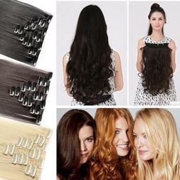 100% Natural Hair Clip in Hair Extensions 8 Pieces Full Head