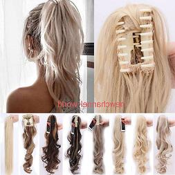 100% Natural Long Ponytail Thick Lady Claw Clip on in Pony T