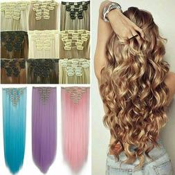 Thick New Hair Clip in Hair Extensions 8 Pieces Full Head Lo