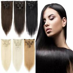 New Natural Remy Clip in Hair Extensions 7 Pieces Full Head