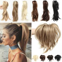 100% Natural Short Clip in Hair Extension Claw on Ponytail C
