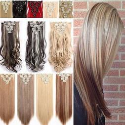 100% Natural Thick Clip in Hair Extensions 8 Pieces Full Hea