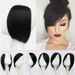 100% Real Clip In Synthetic Straight Side Bangs Fringe Hair