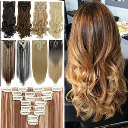 100% Real Natural Clip in Hair Extensions 8Piece Full Head L