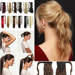100% Real Natural Ponytail hair Piece Clip in on Pony tail H
