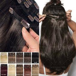 100% Real Remy Human Hair Clip Ins on Hair Extensions Full H