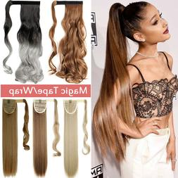 100% Real Thick Clip In One Piece Hair Extensions Ponytail W