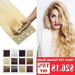 100% Remy Hair Clip In Human Hair Extensions 8pcs Full Head