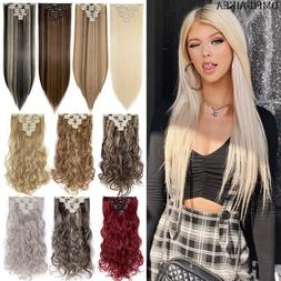 100% Thick Clip in Hair Extensions 8 Pieces Full Head Hair L