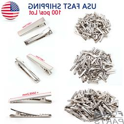 100pcs Alligator Hair Clips Silver Metal Crocodile Bows Barr