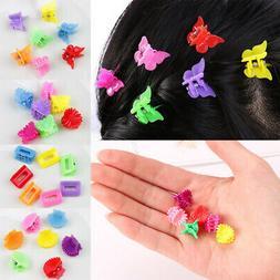100Pcs Mini Hair Claw Jaw Clips Flower Interlocking Clamp Ba