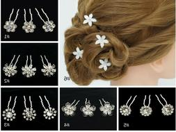 10PC Crystal Flower Bobby Hair Pins Wedding Updo Quinceanera