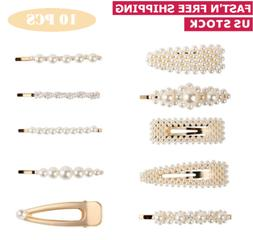 10Pcs Fashion Pearl Metal Hair Clip Hairband Comb Bobby Pin