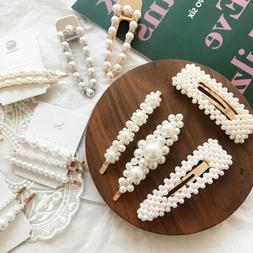 10Pcs Womens Girls Pearl Hair Clip Hairpin Slide Grips Barre
