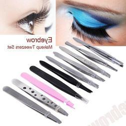 10pcs/set Tweezers Set Professional Stainless Steel Eyebrow