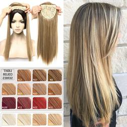 """11/17"""" Clip In Natural Topper Hair Extension Full Head With"""