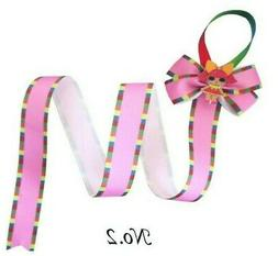 12 BLESSING 30 Inch Hair Clip Holder Rainbow Ribbon Bow Stor