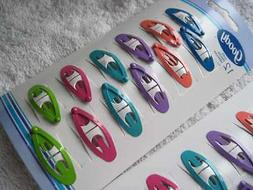 12 Goody Colorful Bright Painted Metal Hair Snap Clips Conto