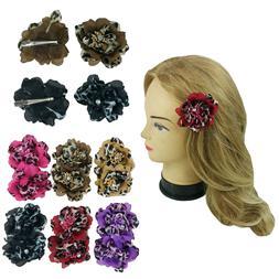 12 Leopard Flower Hair Pin Brooch Women Girl Hair Clip Assor
