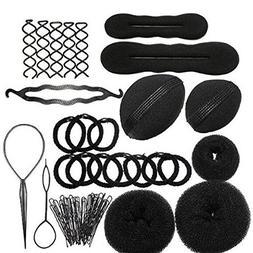 Zinnor 12 Pcs Hair Styling Accessories Kit Set Bun Maker Hai