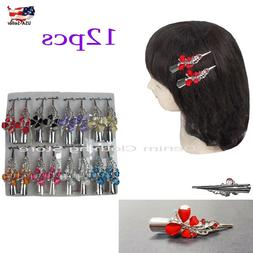 12pcs Butterfly Hair Clip Clamp Metal Alligator Claw Crystal