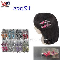 12pcs butterfly hair clip clamp metal alligator