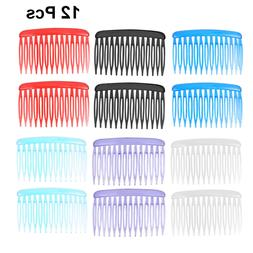 12pcs Colorful Plastic Hair Clip Combs Vintage Small Hair Si