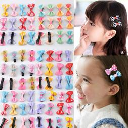 12Pcs Hot Lovely Toddler Girl Hair Clip Ribbon Bow Baby Kids