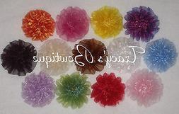 13 Organza Rosette Puff Flowers Hair Clips for Interchangeab