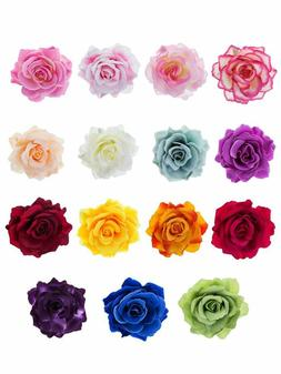 Outus 15 Pieces Rose Flower Hairpin Hair Clip Flower Pin Up