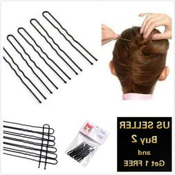 16 - 20pcs U-shaped Black Bun Hair Pin Clip Grips Brown Wavy