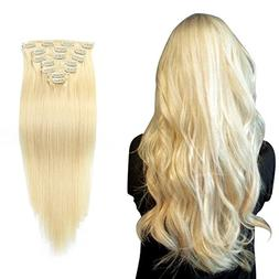 16''-100g 613 Clip In Hair Extensions Hairpiece Clip in 100%