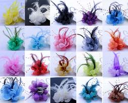 18Colors Pearl Corsage Hair Clip Flower Fascinator Feather H