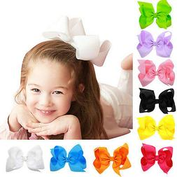 1PC 6Inch Baby Girls large Ribbon Bow Hair Clip Hairclip kid