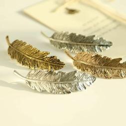 1Pc Fashion Metal Leaf Shape Hair Clip Barrettes Crystal Pea