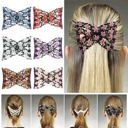 Fashion Women's Magic Combs Beads Double Hair Grip Clip Stre