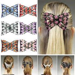 Fashion Women's Magic Combs Beads Double Hair Grip Clip Stre