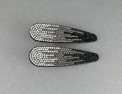 2 black crystal barrettes metal alligator hair clip faceted