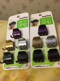 2 Packs  Scunci No Slip Grip Jaw Clips Purple Silver Gold Bl