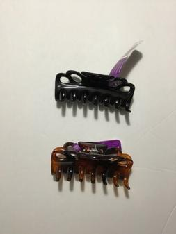 """2 PC 3.5"""" GOODY PLASTIC HAIR STYLING CLAW CLIPS BROWN AND"""