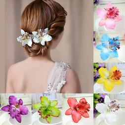 2 Pcs Barrette Flower Hairband Bridal Bohemia Hair Clip Beac
