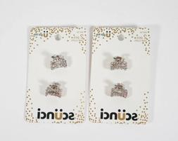 2 Scunci Mini Jaw Hair Clips Rhinestone Silver 2 pcs #54716
