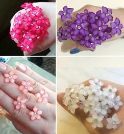 20 / 40pcs - Crystal FLOWER Rhinestone Hair Pins Clips Weddi
